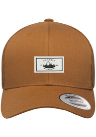 St Louis Woven Label Elevated Trucker Adjustable Hat - Brown