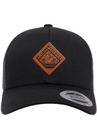 St Louis Faux Leather Patch Elevated Trucker Adjustable Hat - Black