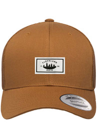Cleveland Woven Label Elevated Trucker Adjustable Hat - Brown