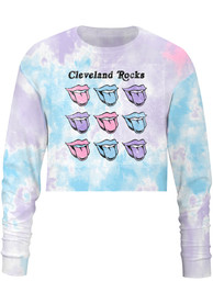 Cleveland Women's Tie-Dye Pastel Lips Cropped Long Sleeve T-Shirt