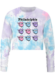 Philadelphia Women's Tie-Dye Pastel Lips Cropped Long Sleeve T-Shirt