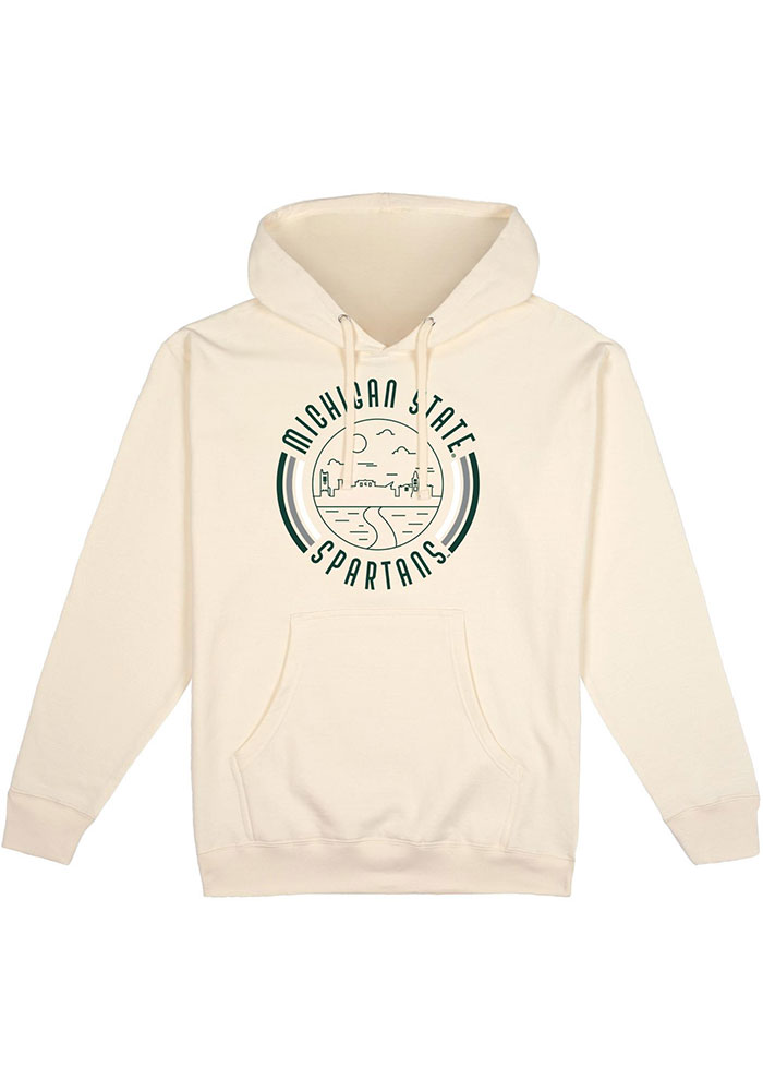 Michigan State Spartans Mens White Pullover Long Sleeve Hoodie - Image 1