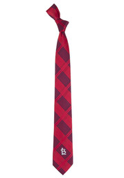 St Louis Cardinals Woven Poly Skinny Plaid Tie - Red
