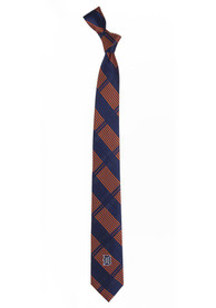 Detroit Tigers Woven Poly Skinny Plaid Tie - Navy Blue
