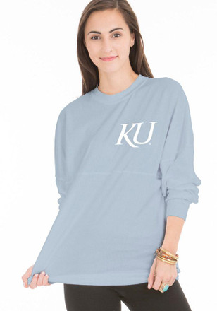 KU Jayhawks Womens The Jade Blue LS Tee