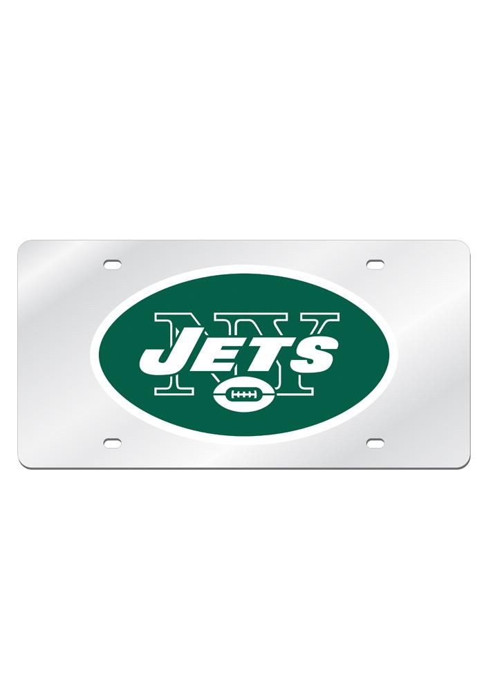 New York Jets Silver Arcylic Car Accessory License Plate - Image 1