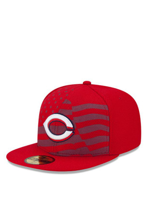Cincinnati Reds New Era Mens Red 2015 Stars and Stripes Fitted Hat