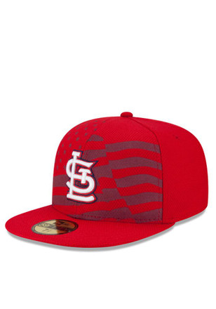 STL Cardinals New Era Mens Red 2015 Stars and Stripes Fitted Hat
