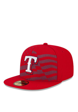 Texas Rangers New Era Mens Red 2015 Stars and Stripes Fitted Hat
