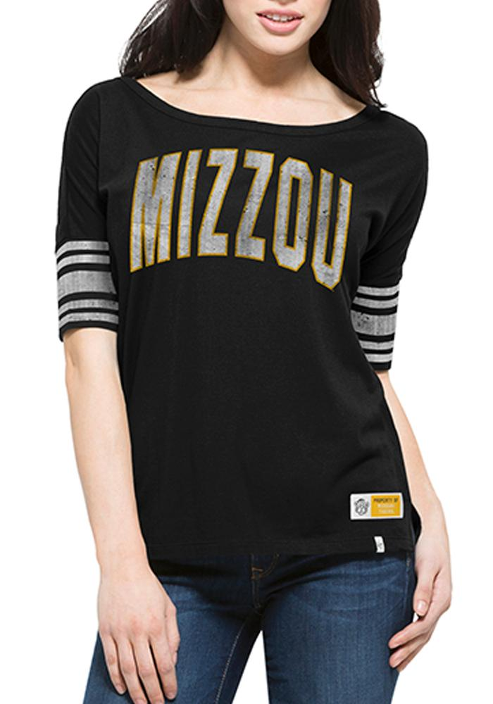 47 Missouri Tigers Juniors Black 1962 Anthem Scoop T-Shirt - Image 1