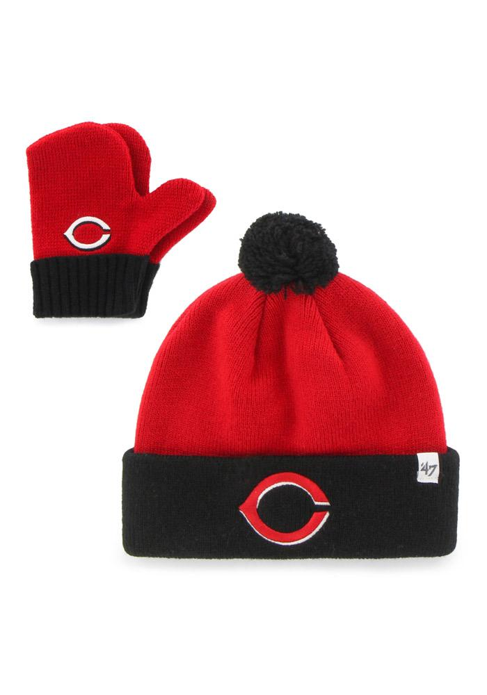 '47 Cincinnati Reds Bam Bam Set Baby Knit Hat - Red - Image 2