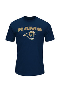 Los Angeles Rams Majestic Line of Scrimmage T Shirt - Navy Blue