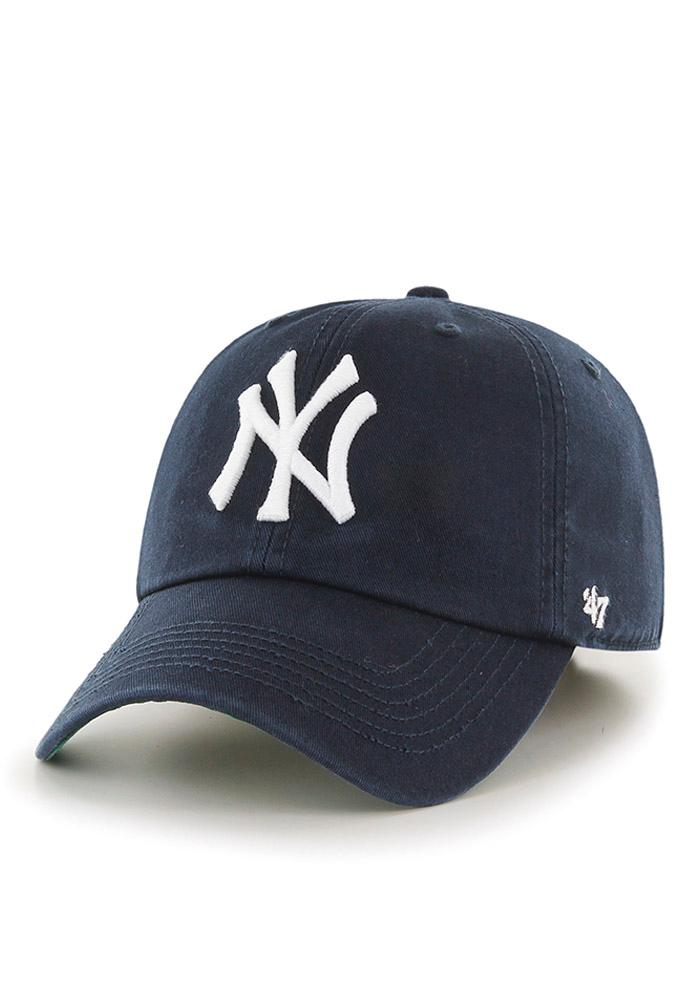 '47 New York Yankees Mens Navy Blue `47 Franchise Fitted Hat - Image 1