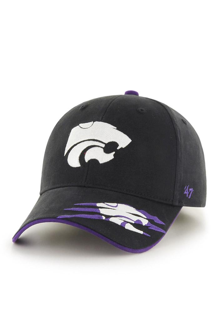 47 K-State Wildcats Black Claws Youth Adjustable Hat - Image 1