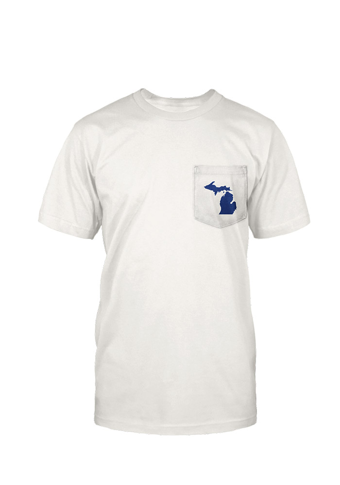 Great Lakes State Mens White State Flag Short Sleeve Tee - Image 1