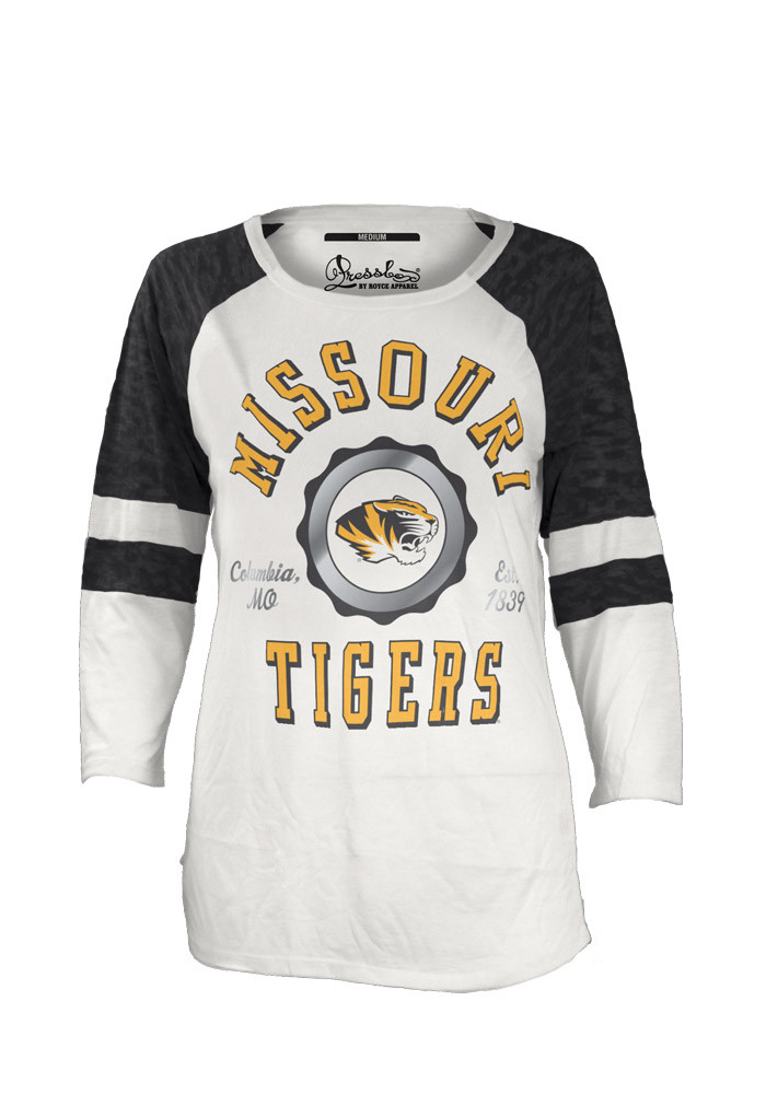 Mizzou Tigers Womens White Bishop Long Sleeve Scoop Neck - Image 1