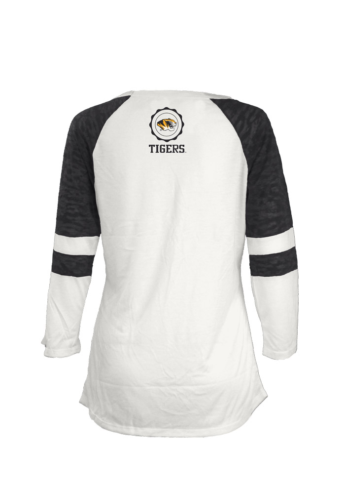 Mizzou Tigers Womens White Bishop Long Sleeve Scoop Neck - Image 2