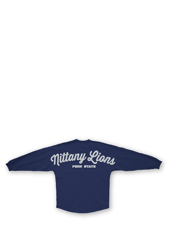 Penn State Nittany Lions Womens Navy Blue Sequin Sweeper LS Tee - Image 2