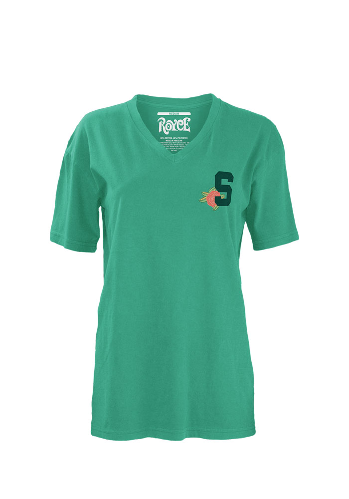 Michigan State Spartans Womens Teal Floral Short Sleeve Unisex Tee - Image 1
