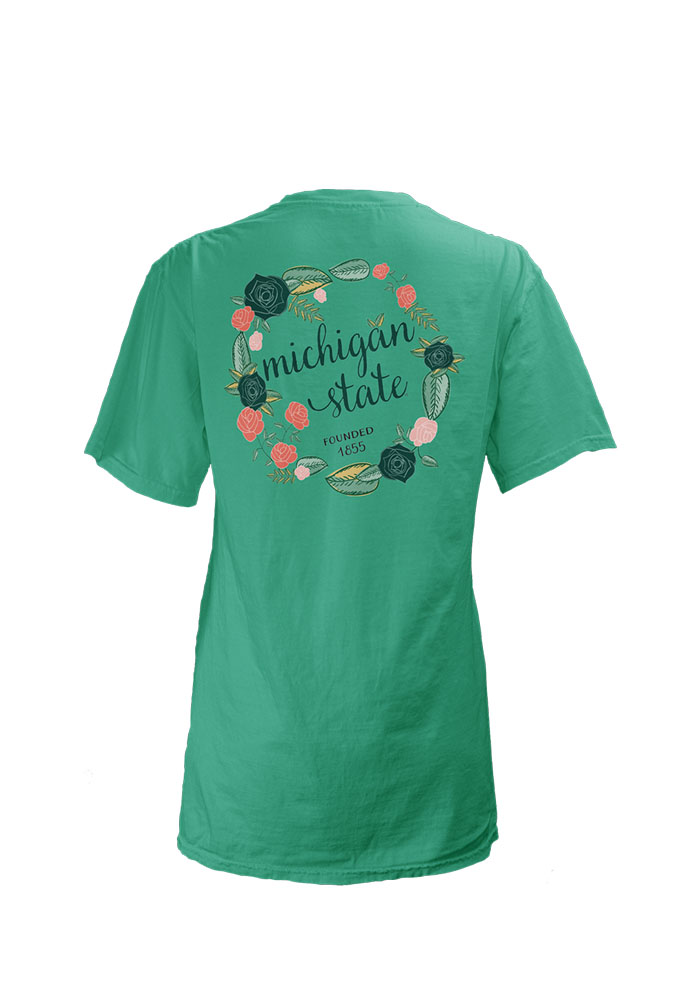Michigan State Spartans Womens Teal Floral Short Sleeve Unisex Tee - Image 2