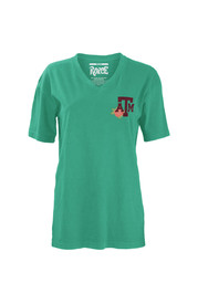 Texas A&M Womens seafoamgreen Floral V-Neck