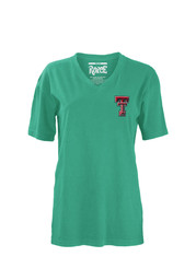 TTech Red Raiders Womens seafoamgreen Floral V-Neck
