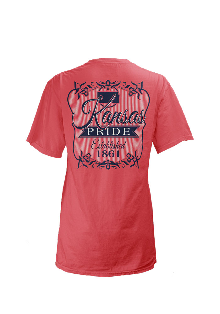 Kansas Womens Pink Kansas Flora V-Neck Short Sleeve T-Shirt - Image 2