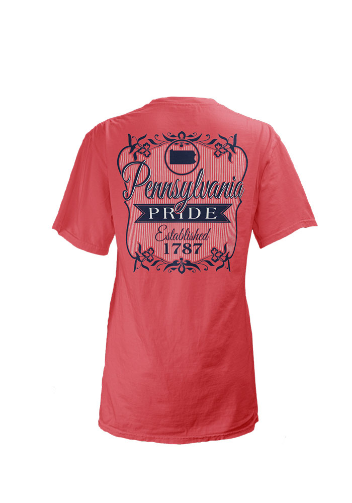 Pennsylvania Womens Pink Pennsylvania Flora V-Neck Short Sleeve T-Shirt - Image 2
