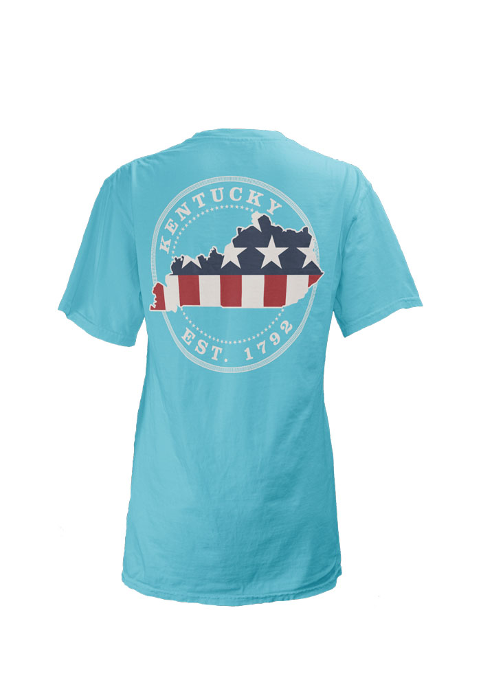 Kentucky Womens Blue Kentucky Patriotic State V-Neck Short Sleeve T-Shirt - Image 2