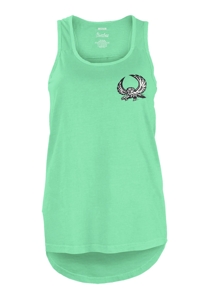 Temple Owls Womens Green Paisley Frame Tank Top - Image 1