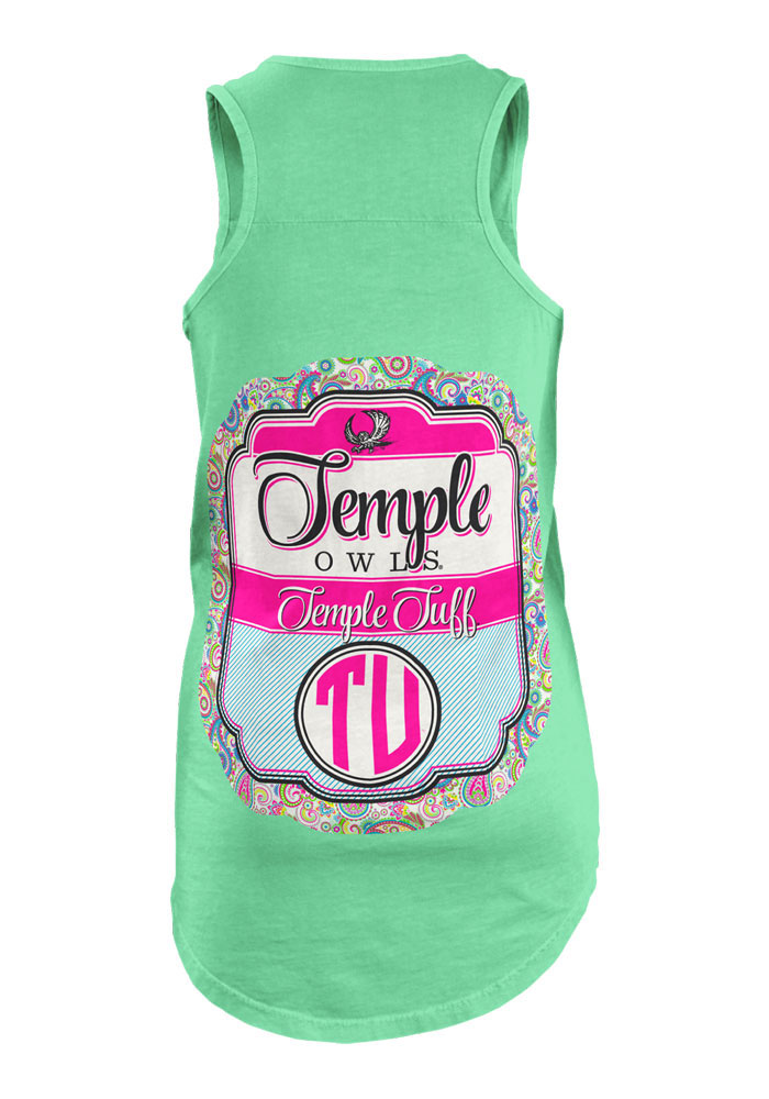 Temple Owls Womens Green Paisley Frame Tank Top - Image 2