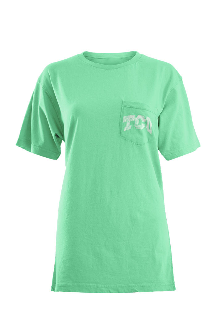 TCU Horned Frogs Womens Green Block Chevron Short Sleeve Unisex Tee - Image 1