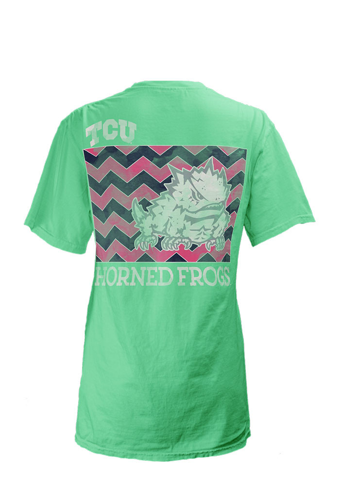 TCU Horned Frogs Womens Green Block Chevron Short Sleeve Unisex Tee - Image 2