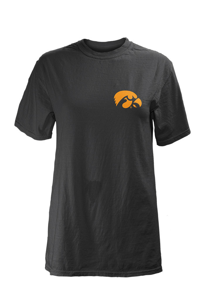 Iowa Hawkeyes Womens Black Gretta Short Sleeve Unisex Tee - Image 1