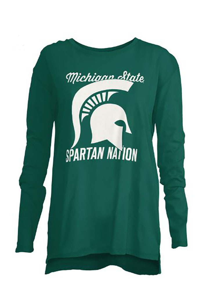 Michigan State Spartans Womens Green Noelle Long Sleeve Crew T-Shirt - Image 1