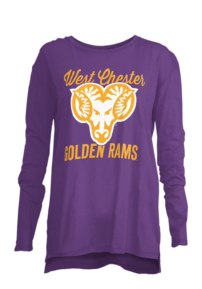 West Chester Golden Rams Womens Purple Noelle Long Sleeve Crew T-Shirt, Purple, 100% COTTON, Size S