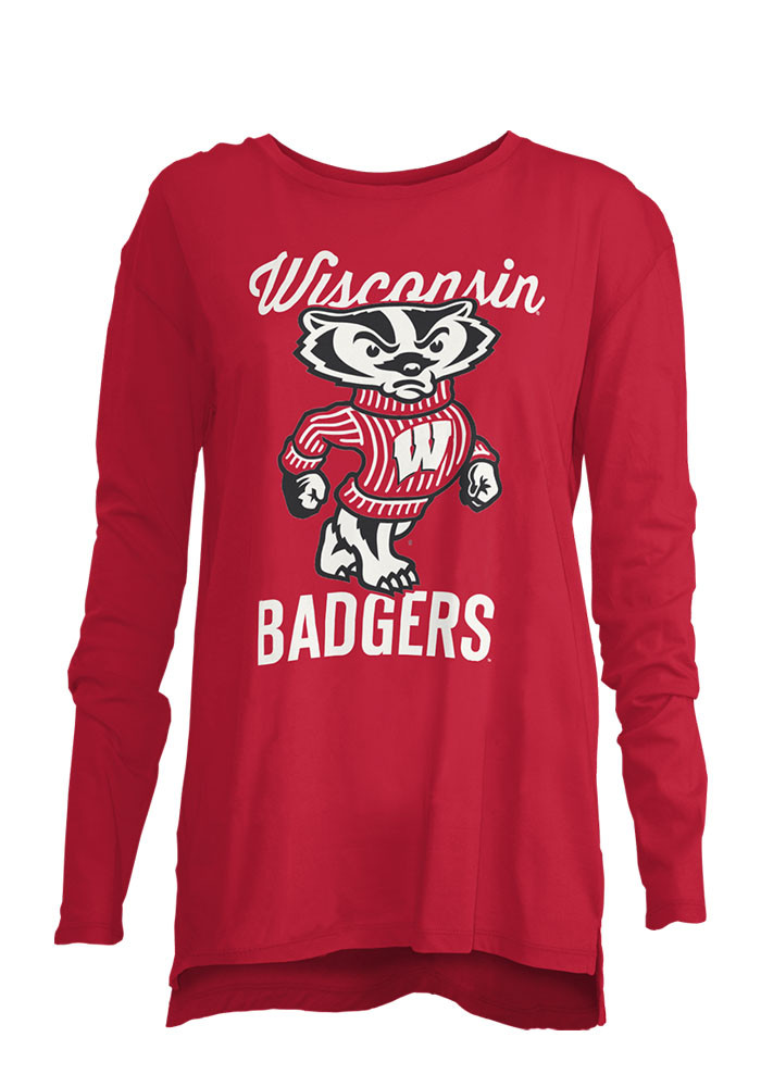 Wisconsin Badgers Womens Red Noelle Long Sleeve Crew T-Shirt - Image 1