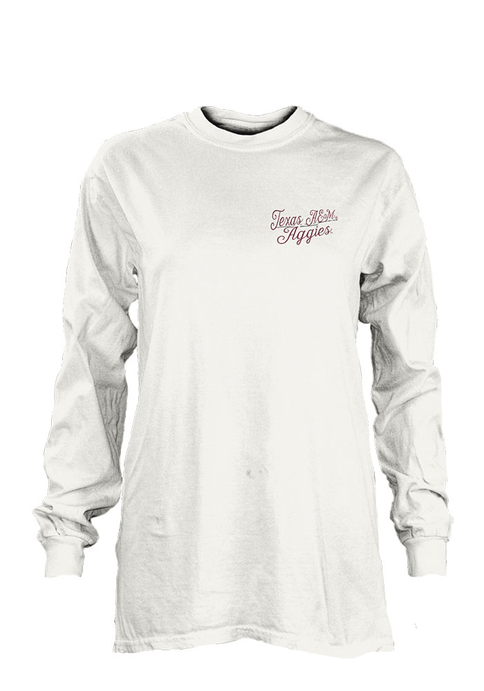 Texas A&M Aggies Womens White Plato LS Tee - Image 1