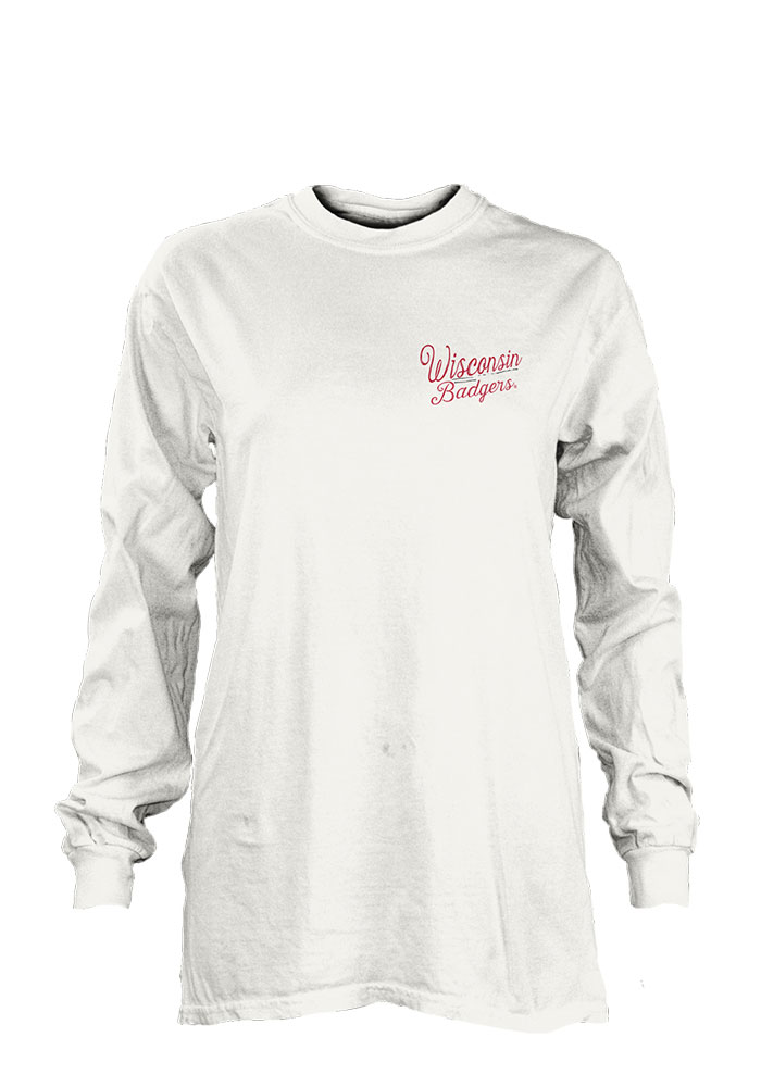 Wisconsin Badgers Womens White Plato LS Tee - Image 1