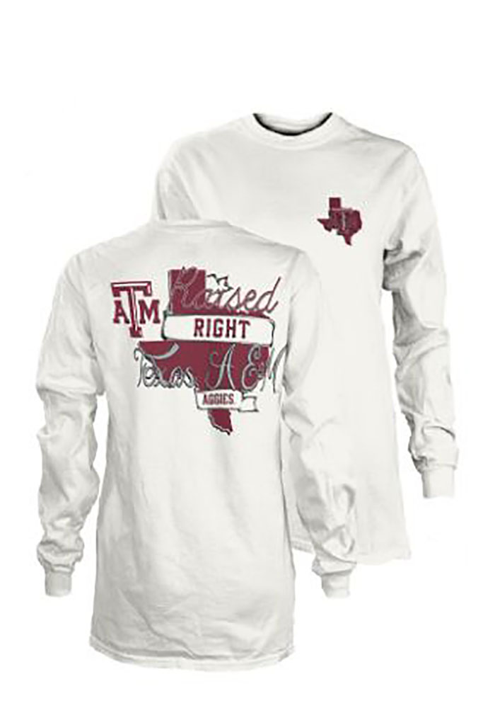 Texas A&M Aggies Womens White Raised Right LS Tee - Image 1