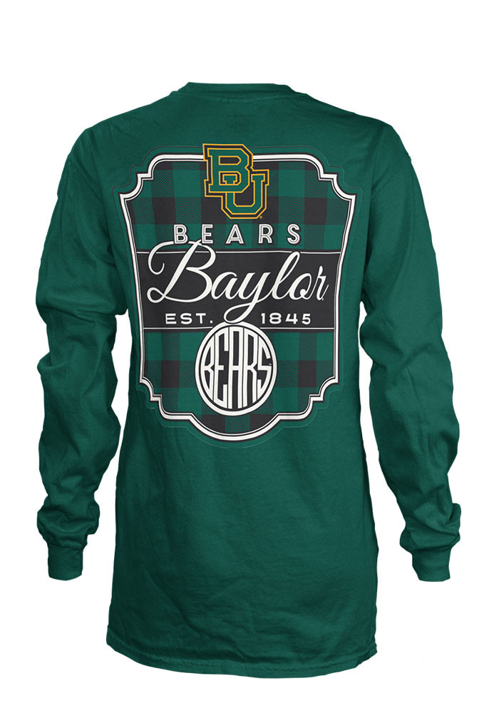 Baylor Bears Womens Green Buffalo Plaid LS Tee - Image 2