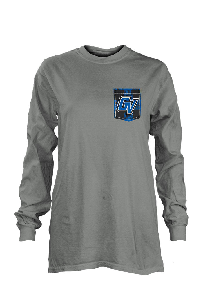 Grand Valley State Lakers Womens Grey Buffalo Plaid LS Tee - Image 1