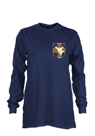 West Virginia Mountaineers Womens Buffalo Plaid Navy Blue LS Tee