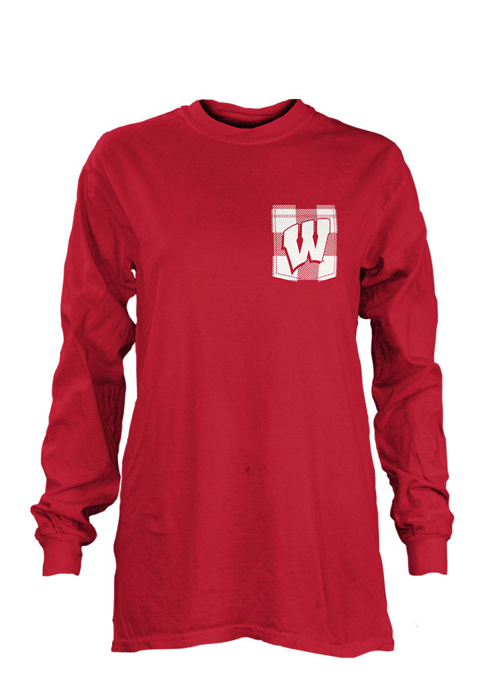 Wisconsin Badgers Womens Red Buffalo Plaid LS Tee - Image 1