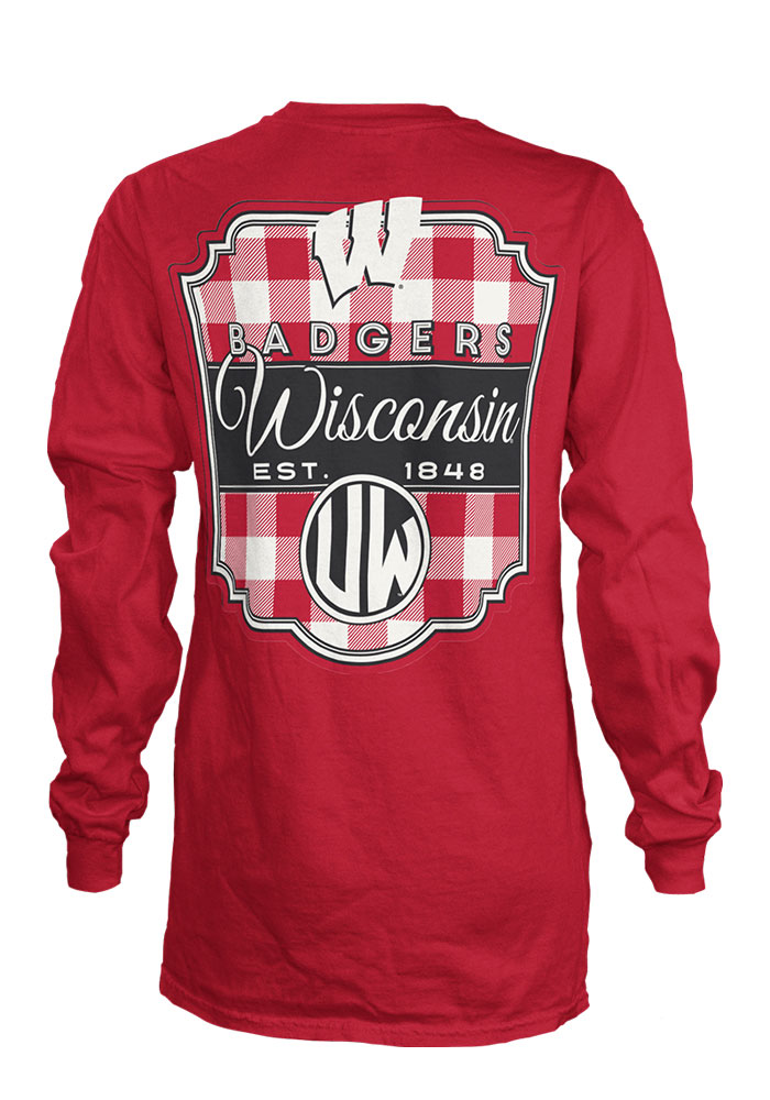 Wisconsin Badgers Womens Red Buffalo Plaid LS Tee - Image 2