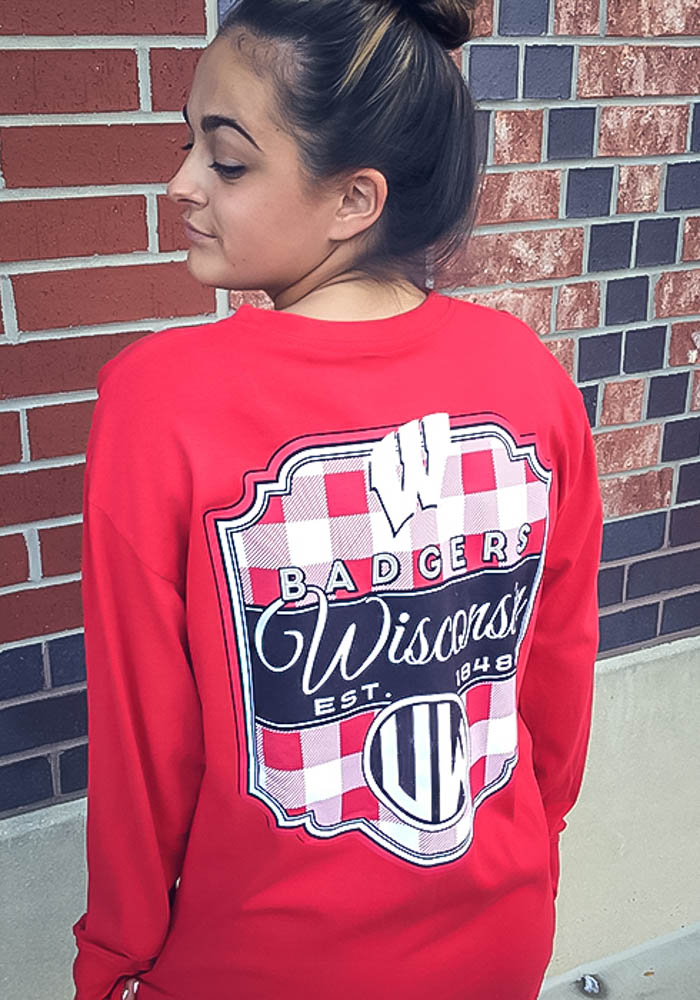 Wisconsin Badgers Womens Red Buffalo Plaid LS Tee - Image 3