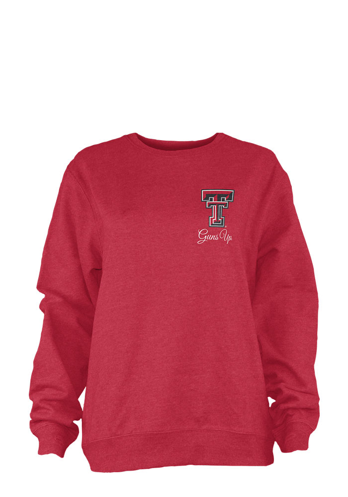 Texas Tech Red Raiders Womens Red Heptagon Chevron LS Tee, Red, 100% COTTON, Size S