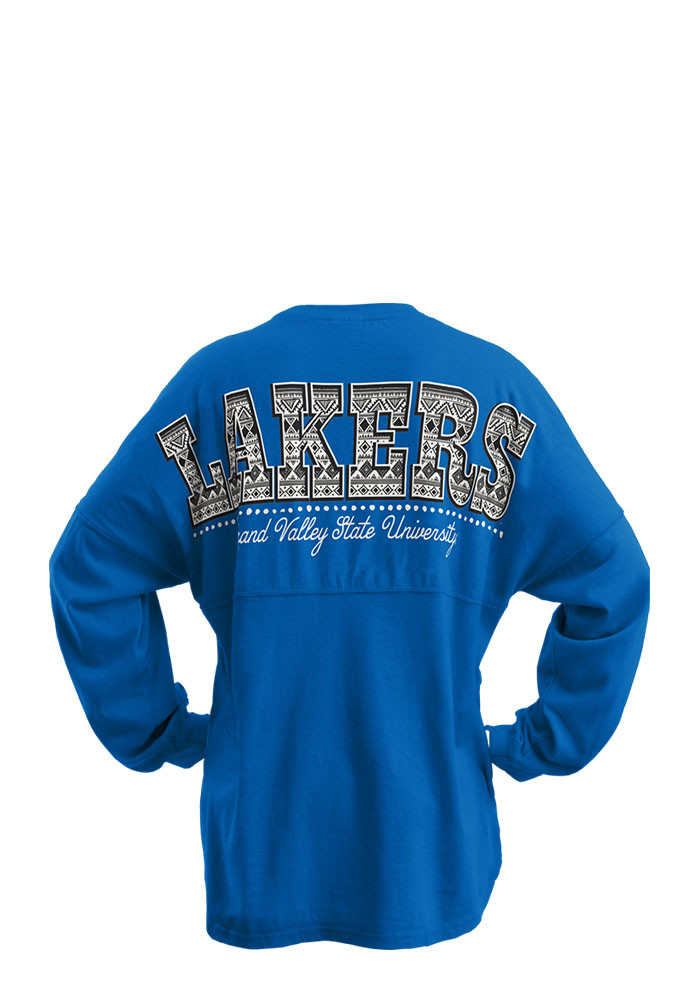 Grand Valley State Lakers Womens Blue Aztec Western LS Tee - Image 2