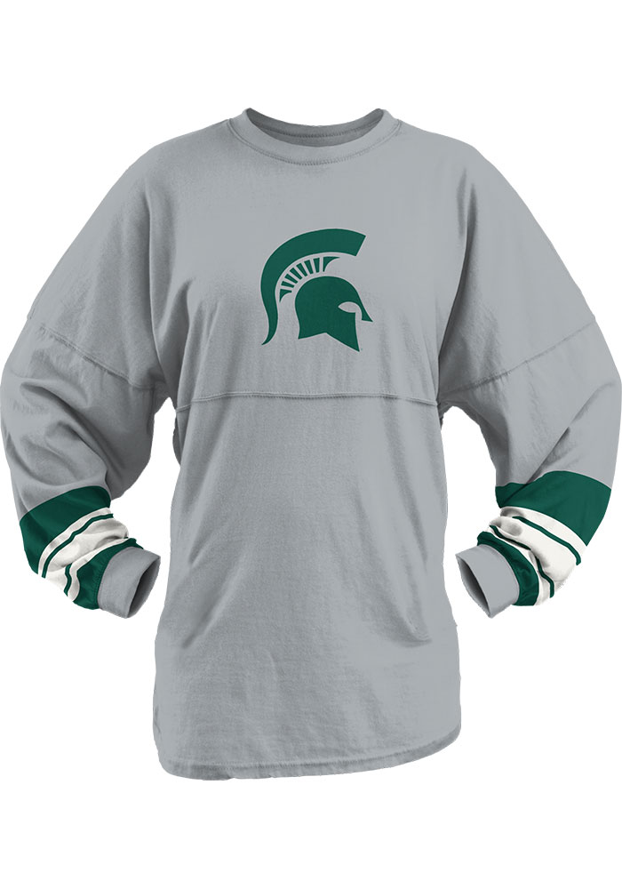 Michigan State Spartans Womens Grey Dasher LS Tee - Image 2