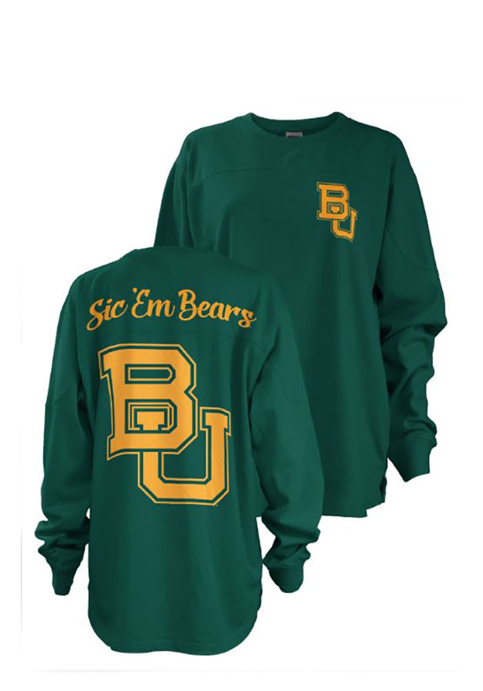 Baylor Bears Womens Green Fight Song LS Tee - Image 1
